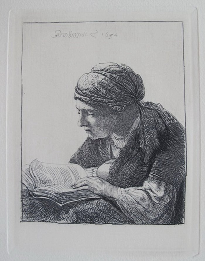 REMBRANDT WOMAN READING ETCHING