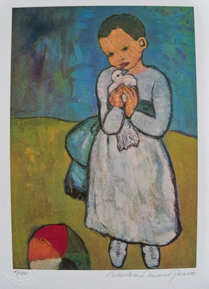 PABLO PICASSO CHILD WITH DOVE ESTATE SIGNED LIMITED ED.