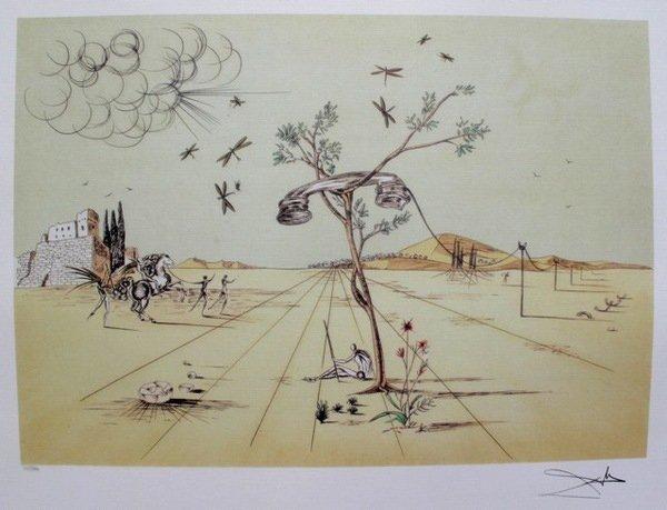 SALVADOR DALI DISEMBODIED TELEPHONE IN THE DESERT