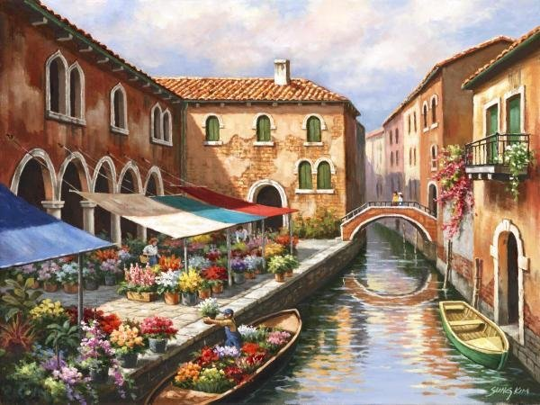 SUNG KIM - FLOWER MARKET ON THE CANAL