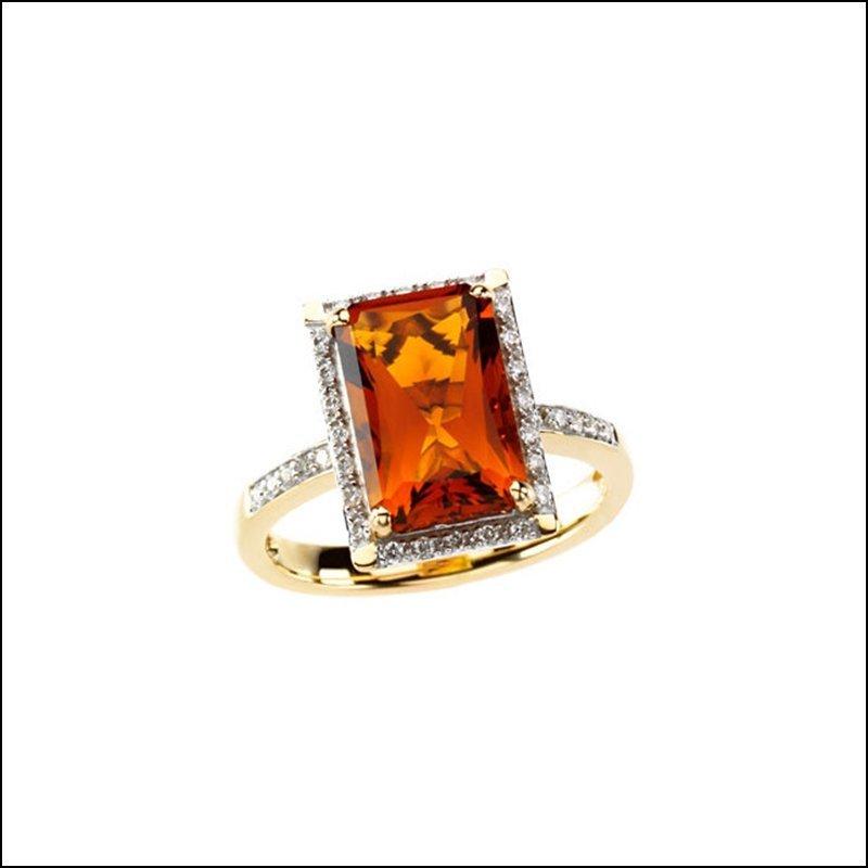 GENUINE MADEIRA CITRINE & DIAMOND RING