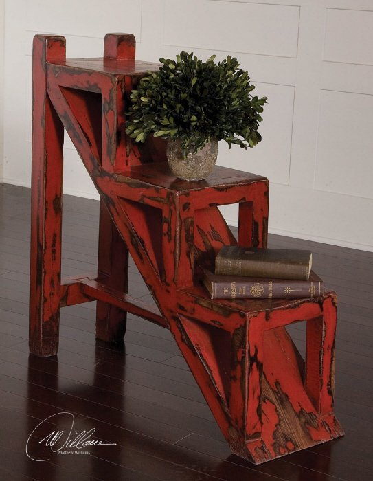 ASHER RED STEPPED ACCENT TABLE