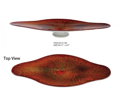 HAND BLOWN - RUBY CRACKLED GLASS CRESCENT BOWL SMALL