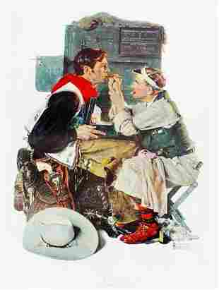 NORMAN ROCKWELL THE TEXAN ORIGINAL 1973 COLLOTYPE OF