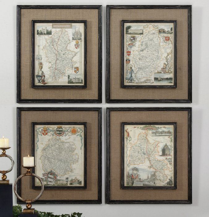 COUNTRYSIDE MAPS WALL ART SET/4