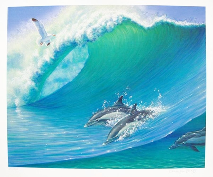CHARLES LYNN BRAGG SWIMMING DOLPHINS HAND SIGNED