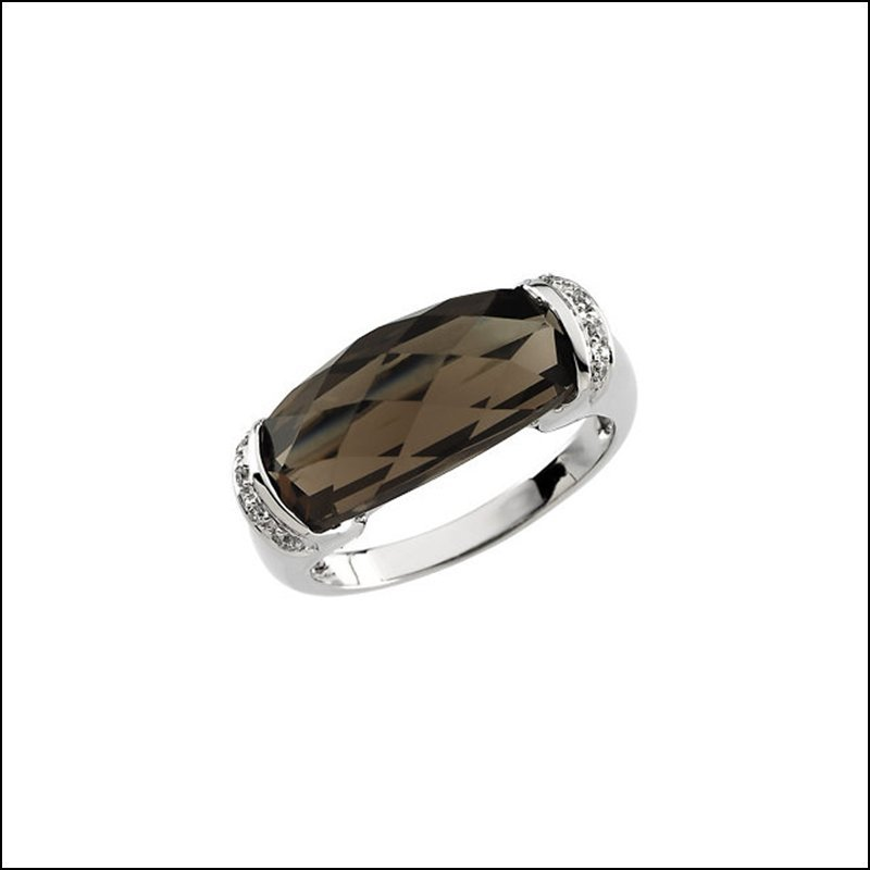 GENUINE SMOKY QUARTZ & DIAMOND RING