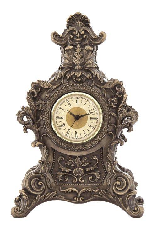 FRENCH BAROQUE MANTEL CLOCK - COLD CAST BRONZE