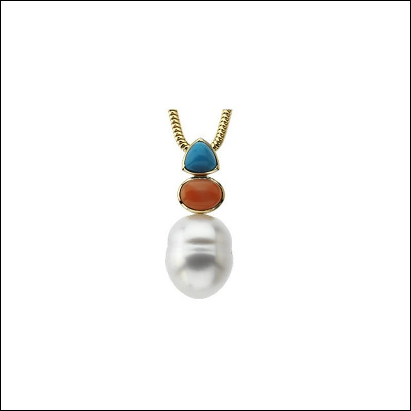 SOUTH SEA CULTURED CIRCLé PEARL, GENUINE TURQUOISE &