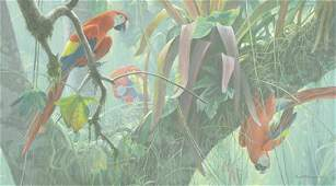TROPICAL CANOPY -SCARLET MACAWS Giclee Canvas Signed