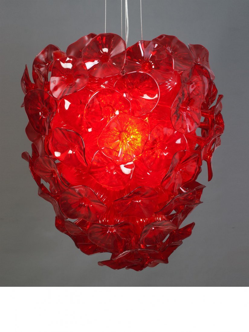 HAND BLOWN - LARGE RED FIORE