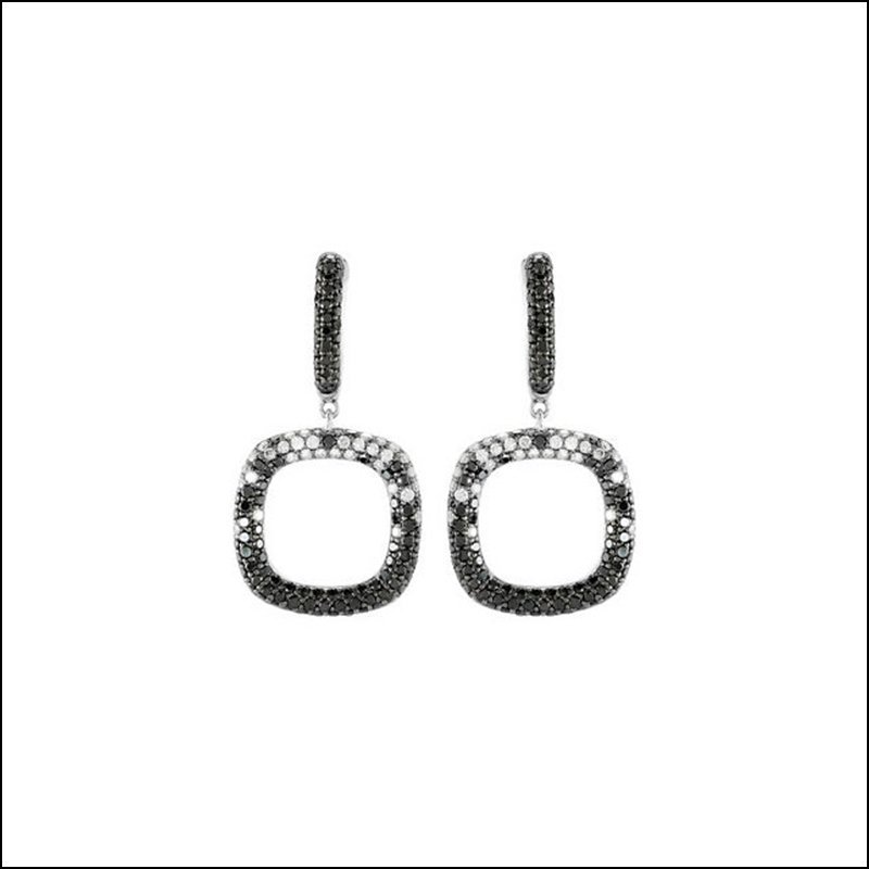 2 1/6 CT TW BLACK & WHITE DIAMOND EARRINGS