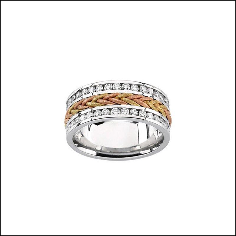 DIAMOND TRI COLOR 8MM ANNIVERSARY BAND