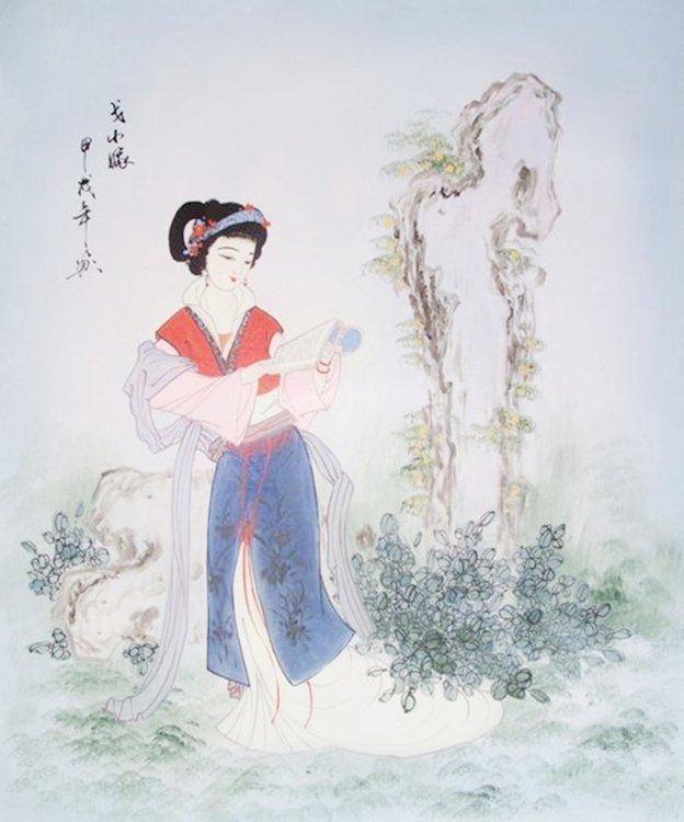 READING IN KIMONO SIGNED ORIGINAL OIL PAINTING ON