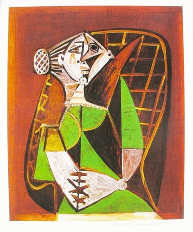 #089 WOMAN IN GREEN DRESS PICASSO ESTATE SIGNED GICLÉE