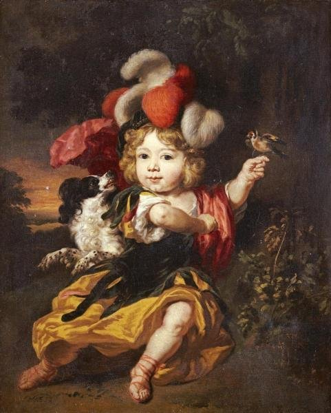 NICOLAES MAES - A BOY IN CLASSICAL COSTUME
