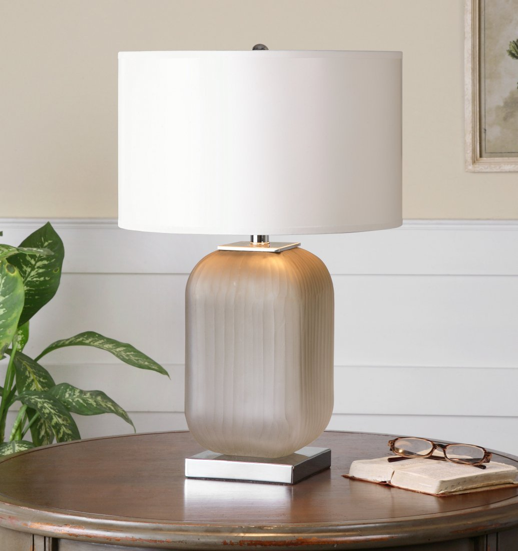 FORINO GRAY GLASS TABLE LAMP