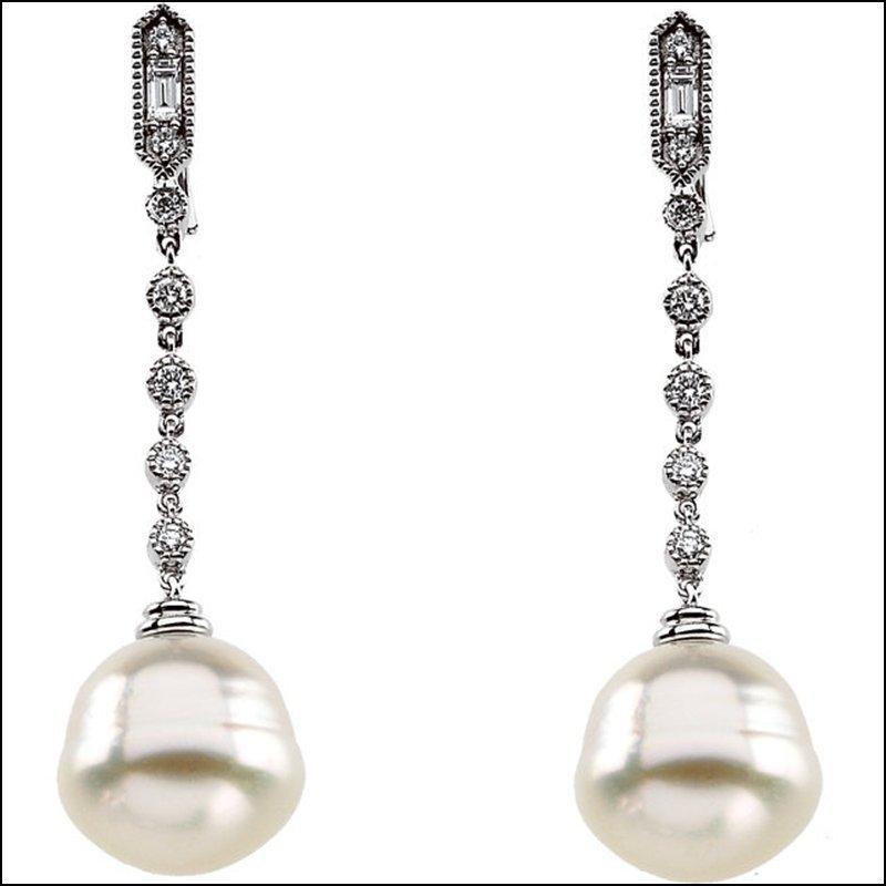 CULTURED PEARL & DIAMOND EARRINGS