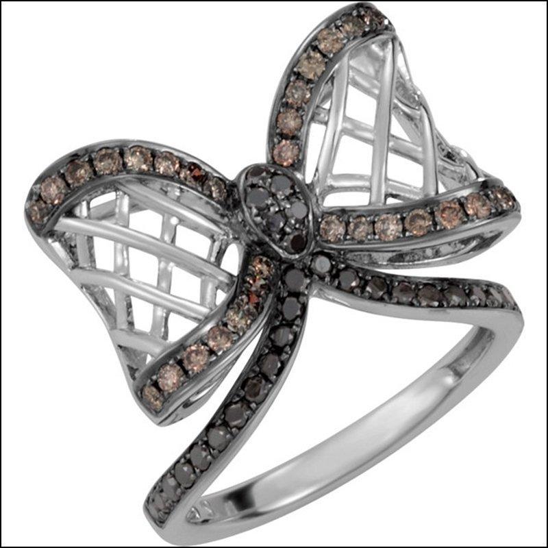 5/8 CT TW BLACK & BROWN DIAMOND BOW RING