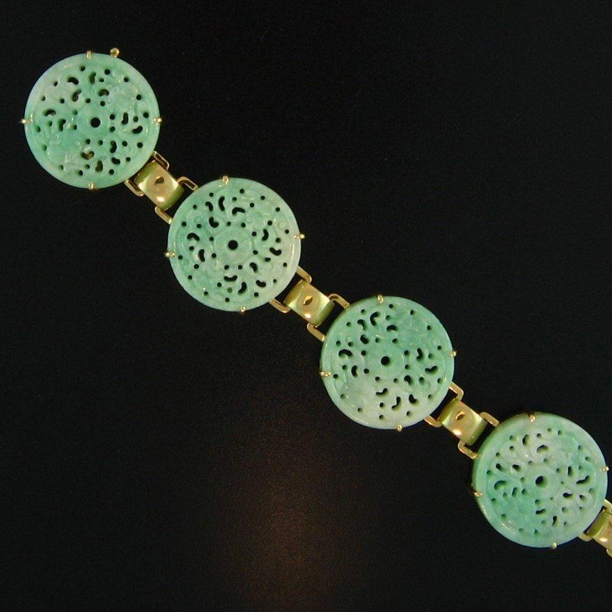 NATURAL GREEN JADEITE BRACELET