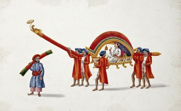 PATNA SCHOOL - A DIGNITARY CARRIED IN AN ORNAMENTAL