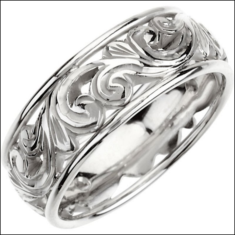 9.5 MM OPENWORK HAND-ENGRAVED BAND