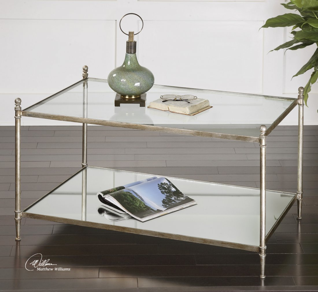 GANNON MIRRORED GLASS COFFEE TABLE