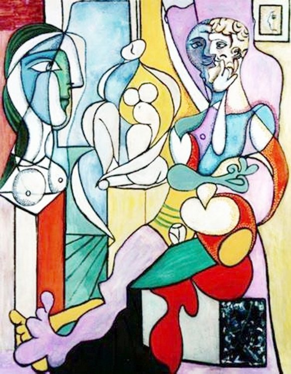 #36 ARTIST WITH SCULPTURE PICASSO ESTATE SIGNED GICLÉE
