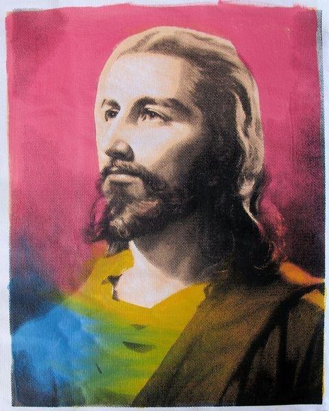 "STEVE KAUFMAN ""JESUS"" HAND SIGNED SILKSCREEN ON CANVAS"