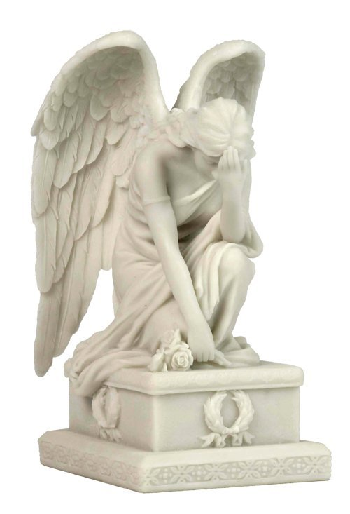 WEEPING ANGEL KNEEING W/ HAND ON THE FOREHEAD (MARBLE