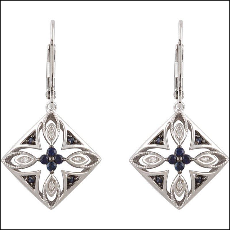 DECORATIVE SAPPHIRE & DIAMOND LEVER BACK EARRINGS