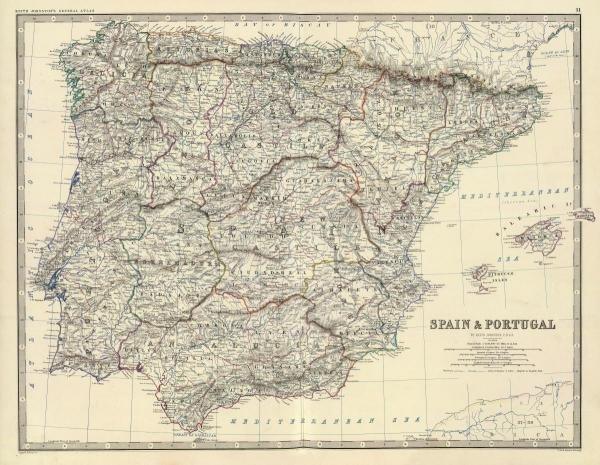 ALEXANDER KEITH JOHNSTON - SPAIN, PORTUGAL, 1861
