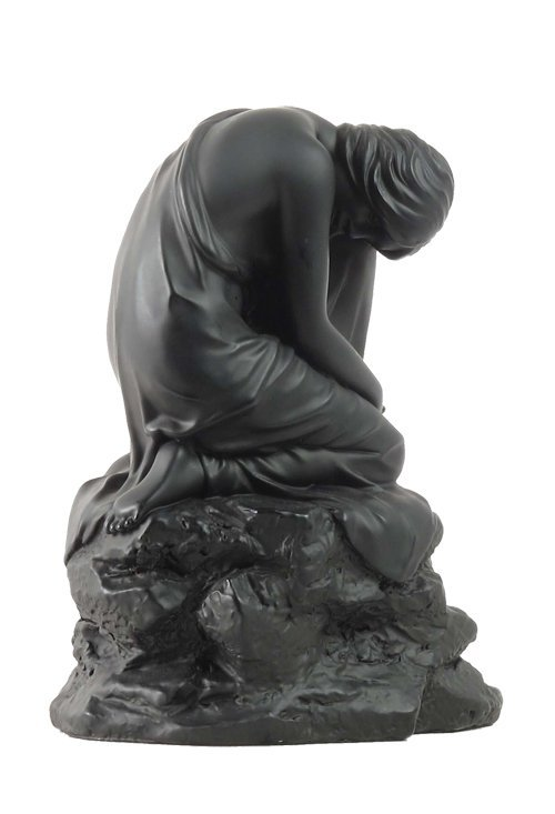 NUDE WOMAN CROUCHING ON THE ROCK ON RIGHT KNEE (BLACK)