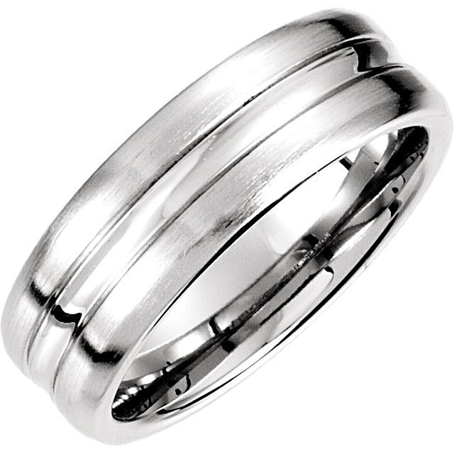 14kt White 7.5mm Fancy Carved Band 4