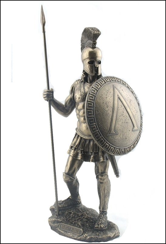 SPARTAN WARRIOR WITH SPEAR AND HOPLITE SHIELD - BRONZE