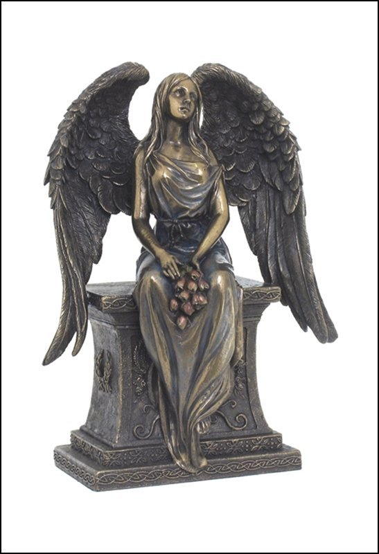 ANGEL WITH ROSES SITTING ON THE TOMBSTONE - BRONZE