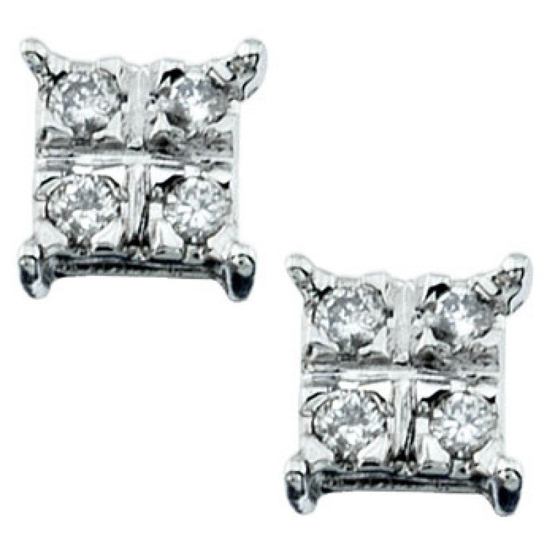 Earrings...10k White Gold 1.2 Gram 0.12ct Diamond Si3