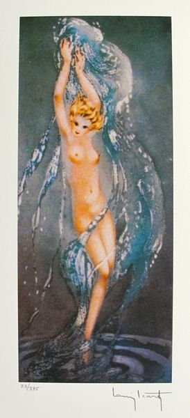 After Louis Icart Fountain Facsimile Signed Limited