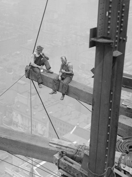 WORKERS SITTING ON STEEL BEAM, 1926…UNKNOWN
