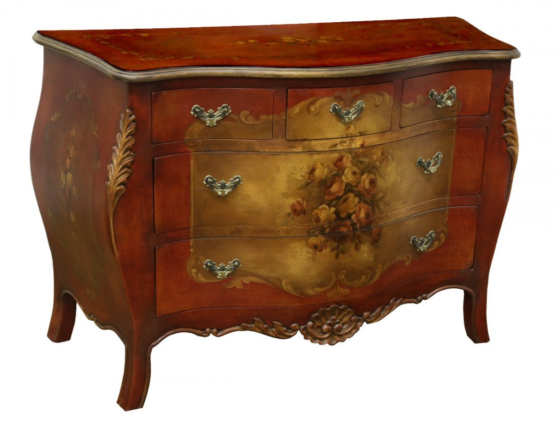 HAND PAINTED BOMBE CHEST