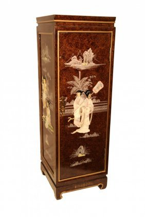 Oriental Lacquer Pedestal With Inlaid Mother Of Pearl