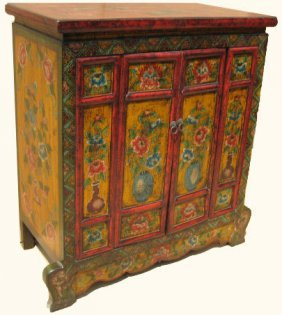 "40 "" High Tibetan Two Door Cabinet Painted Floral"
