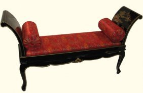 Oriental Bench Hand Painted Lacquer With French Legs