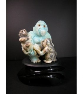 Carved Blue Quartzite Monkey Family Sculpture