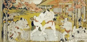 Katsukawa Shunei - A Triptych Of A Wrestling Bout