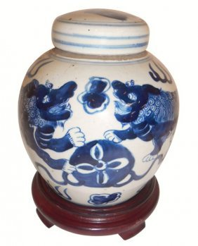 Blue And White Hand Painted Lion Jar
