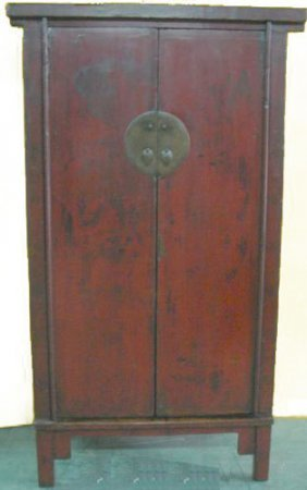 Chinese Antique Armoire Hand Painted Landscape.