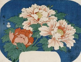 Hiroshige - Three Stems Of Peonies