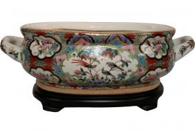 """20"""" Wide Pastoral Chinese Porcelain Centerpiece With"""