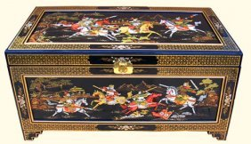 Large Oriental Trunk Hand Painted Warriors